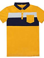 Lesmart Men's Stand Short Sleeve T Shirt Blue / Gray / Yellow-TZ1604
