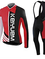 KEIYUEM® Winter Thermal fleece Long Sleeve Cycling Jersey+Long Bib Tights Ropa Ciclismo Cycling Clothing Suits #W39