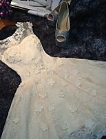 Corto / mini Di pizzo Vestito da damigella Linea-A Stondata con Con applique