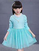 Girl's Casual/Daily Solid Dress,Cotton / Rayon Winter / Spring / Fall Blue / Pink