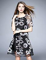 BOMOVO® Women's Round Neck Short Sleeve Knee-length Dress-B16XQ7I