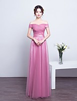 Floor-length Lace / Tulle Bridesmaid Dress Ball Gown Off-the-shoulder with Draping / Lace