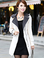 Women's Casual/Daily Simple Coat,Color Block Shirt Collar Long Sleeve Winter Red / White / Yellow Polyester Thick