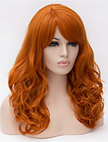 cosplay perruque Synthétique Sans bonnet Perruques Moyen Long Orange Cheveux