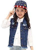 Girl's Cotton Spring/Fall Fashion Broken Hole Blue Cowboy Waistcoat