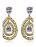 Fashion Drop Earrings for Women Bohemia 18K Gold Plated White Cubic Zircon Copper Earring Wedding Jewelery