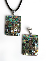 Beadia 32x41mm Rectangle Shape Natural Mother of Pearl Abalone Shell Pendant (1Pc)