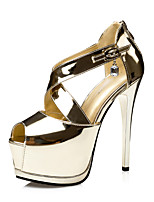 Women's Shoes  Fall Heels / Peep Toe / Round Toe Sandals Dress Stiletto Heel Buckle Black / Silver / Gold / Champagne
