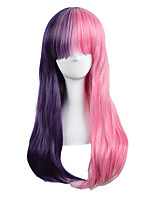 High Quality Natural Long Straight Pink Purple Ombre Color Synthetic Wig For White Women