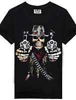 Men's Summer Fashion Casual Cotton Popular Skeleton Short Sleeve T-shirts