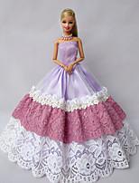Poupée Barbie-Pourpre clair-Princesse-Robes- enSatin / Dentelle
