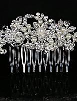 Femme Perle / Strass / Cristal / Alliage Casque-Mariage / Occasion spéciale / Décontracté Peigne 1 Pièce Blanc Rond 8.5 * 5.5 cm