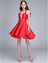Lanting Bride Short / Mini Satin Bridesmaid Dress A-line Halter with Bow(s)