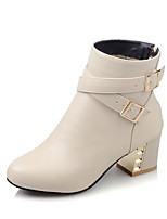 Mujer-Tacón Robusto-Tacones / Botas a la Moda-Botas-Exterior / Oficina y Trabajo / Casual-Semicuero-Negro / Blanco / Beige