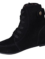 Women's Boots Winter Fashion Boots Fleece Casual Flat Heel Lace-up Black / Brown / Yellow / Burgundy Others