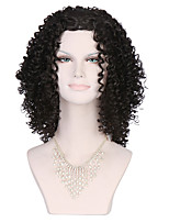 Top Quality Women's Fashionable Black color Medium Long Length Curly Wigs with Free Bang
