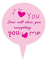 Lovely Pink 25*35mm I Love You Paper Cake Insert Card-CP03(100Pcs/Set)(2 Set)
