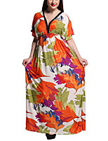 Women's Boho Print Plus Size / Swing Dress,V Neck Maxi Polyester Print Randomly