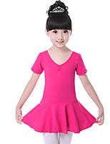 Ballet Dresses Children's Training Cotton Ruched 1 Piece Fashion Ballet Short Sleeve Natural Dress