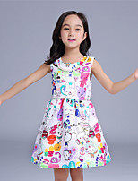 Girl's Casual/Daily Print Dress,Cotton / Polyester All Seasons White