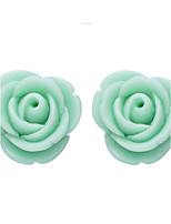 Resin Flower Shape Rose Stud Earrings (1 Pair)