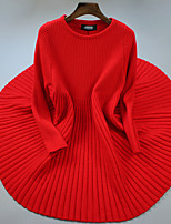 Women's Going out / Casual/Daily Simple Long Pullover,Solid Red Round Neck Long Sleeve Polyester Fall / Winter Medium