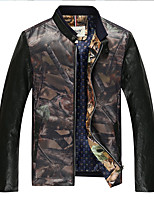 Men's Long Sleeve Casual / Work / Formal / Sport Jacket,PU / Polyester Camouflage Black / Blue / Red