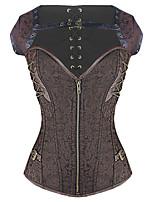 Shaperdiva Women's Dobby Bustier Gothic Steampunk Corset Tops With Zipper