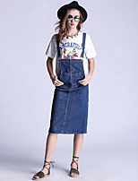 Women's Casual/Daily / Plus Size Street chic Shift Dress,Solid Strap Knee-length Sleeveless Blue Cotton Summer