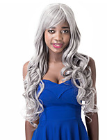 European Vogue Long Sythetic Gray White Side Party Curly Party  Wig For Women