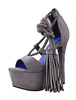 Women's Sandals Summer Sandals Fleece Casual Stiletto Heel Lace-up Red / Gray Others
