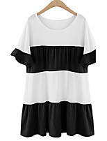 Women's Casual/Daily Simple Plus Size Dress,Striped Round Neck Knee-length ½ Length Sleeve Blue / Pink / Black