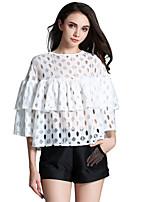 Tee-shirt Aux femmes,Couleur Pleine Décontracté / Quotidien Mignon Eté Manches ¾ Col Arrondi Blanc Autres Translucide