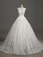 Ball Gown Wedding Dress Court Train Jewel Lace / Tulle with Sash / Ribbon / Beading / Lace
