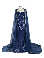 Formal Evening Dress Sheath / Column Queen Anne Chapel Train Sequined with Appliques