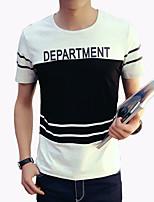 Patchwork / Letter-Informeel / Werk / Sport / Grote maten-Heren-Katoen / Spandex-T-shirt-Korte mouw Zwart / Wit / Grijs