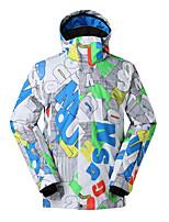 Gsou snow new letter  pattern white ski jackets/ men  waterproof breathable windproof ski board jackets