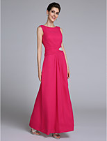 Sheath / Column Mother of the Bride Dress Floor-length Sleeveless Chiffon with Crystal Detailing / Side Draping
