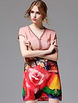 AFOLD® Women's V Neck Short Sleeve Knee-length Dress-5676