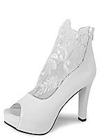 Women's Shoes Leatherette Summer Heels / Peep Toe Sandals Office & Career /  Casual Stiletto Heel ZipperBlack / White