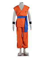 Inspiré par Dragon Ball Goku Anime Costumes Cosplay Costumes Cosplay Couleur Pleine Orange Sans Manches Top / Pantalons / Ceinture
