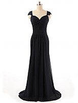 Formal Evening Dress Sheath / Column Sweetheart Sweep / Brush Train Chiffon with Lace / Side Draping
