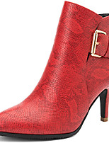 Boots Winter Pointed Toe Leather Casual Stiletto Heel Buckle Black / Red