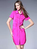 Viva Vena® Women's Shirt Collar Short Sleeve Knee-length Dress-VA88139