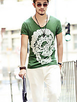 Men's Print Casual / Sport T-Shirt,Cotton Short Sleeve-Green / White / Gray