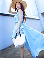 DABUWAWA® Women's Loose Round Neck Sleeveless Asymmetrical Dress-S4D7F