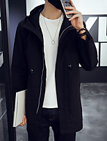 Men's Solid Casual / Work / Formal / Plus Sizes Trench coat,Cotton Long Sleeve-Black / Blue / Gray
