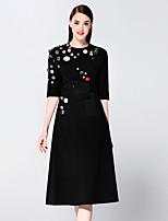 boutique s Women's Going out Sophisticated Sheath Dress,Patchwork Round Neck Midi ½ Length Sleeve Black Cotton