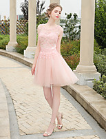 Short / Mini Lace / Tulle Bridesmaid Dress A-line Jewel with Lace / Pearl Detailing