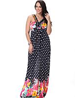 Women's Beach / Plus Size Boho Swing Dress,Print Strap Maxi Sleeveless Black Polyester Summer